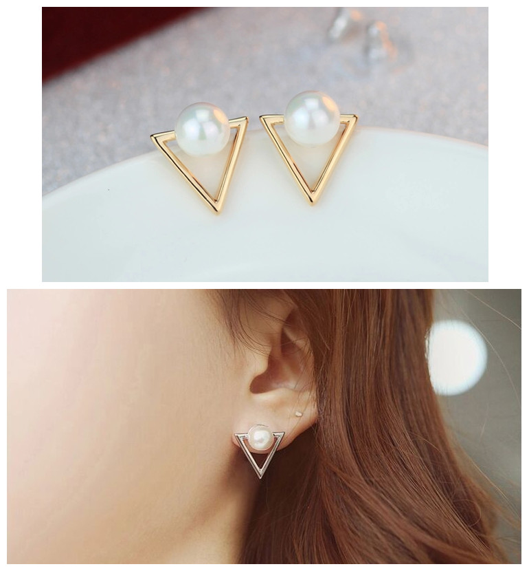 ER035 Girl fashion earrings jewelry personality triangle Imitation pearls stud earrings for women