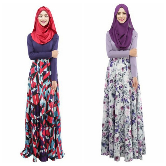 06b6fb3788a Fashion Woman s Kaftan Abaya Jilbab Islamic Muslim Party Wear Long Sleeve  Floral Maxi Dress