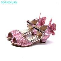 Детские сандалии принцесса 2018 новые летние вечерние туфли для девочек блестящие свадебные сандалии для девушек высокая обувь на каблуке ро...
