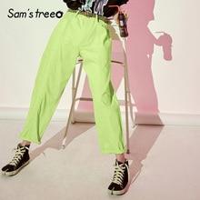 Samstree Cotton Neon Green Casual Women Pants Fashion 2019 S
