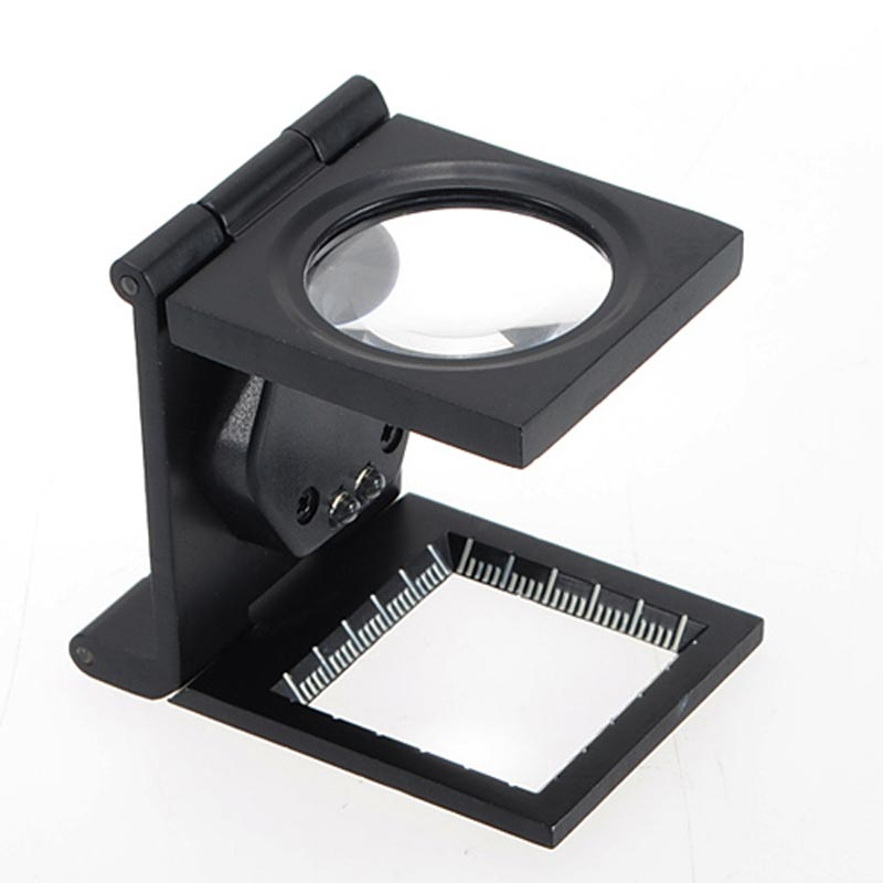 Good Quality 5X LED Fold Stand Scale Fabric Cloth Jeweler Square Magnifier Magnifing Glass Loupe Square