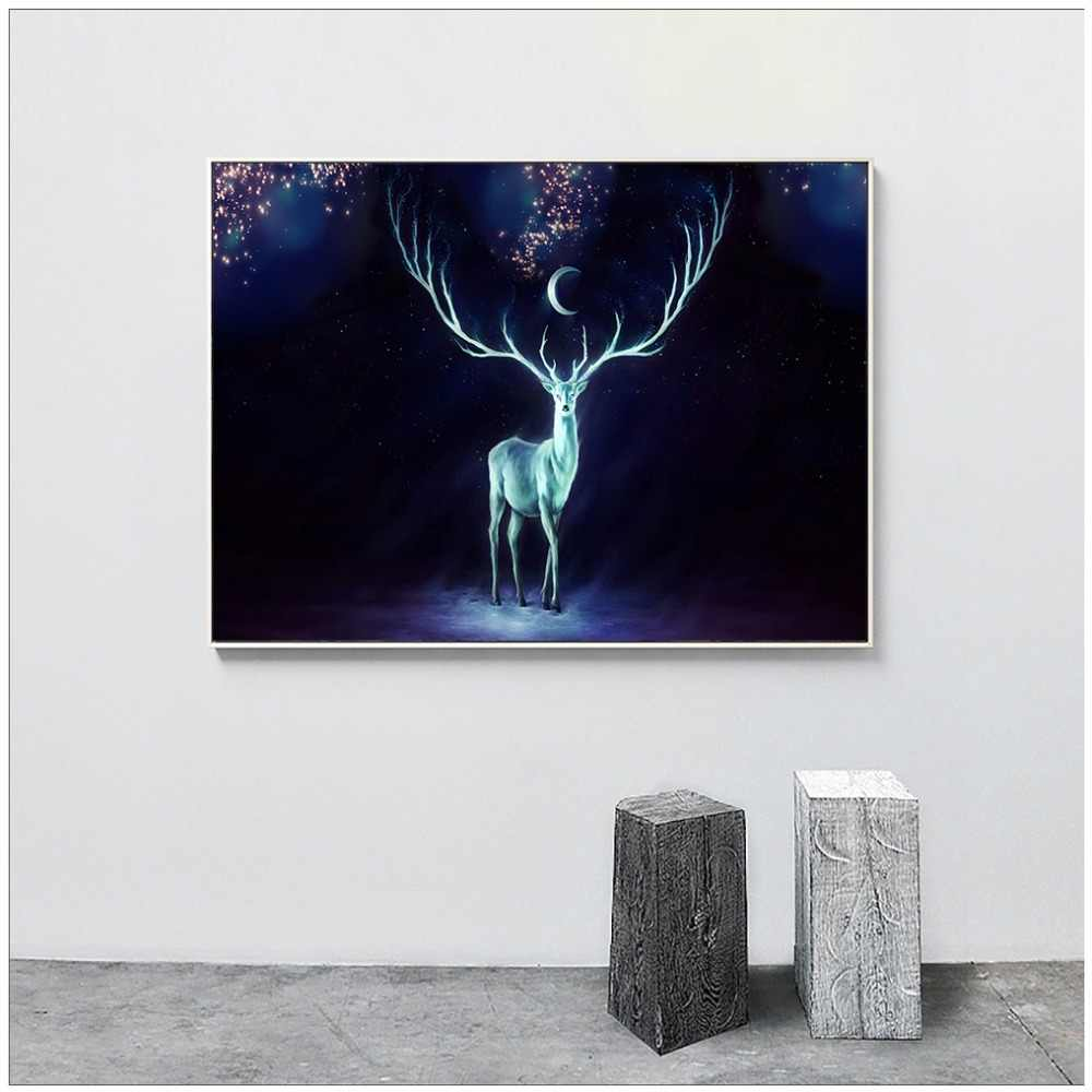 Canvas Painting Deer Wall Decor Posters And Prints Wall Picture For Living Room Animal Wall Art Decoration