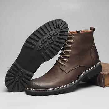Tauntte Winter Cow Leather Ankle Boots Men Retro Bullock Carving Flower Martin Boots botines hombre bota masculina erkek bot
