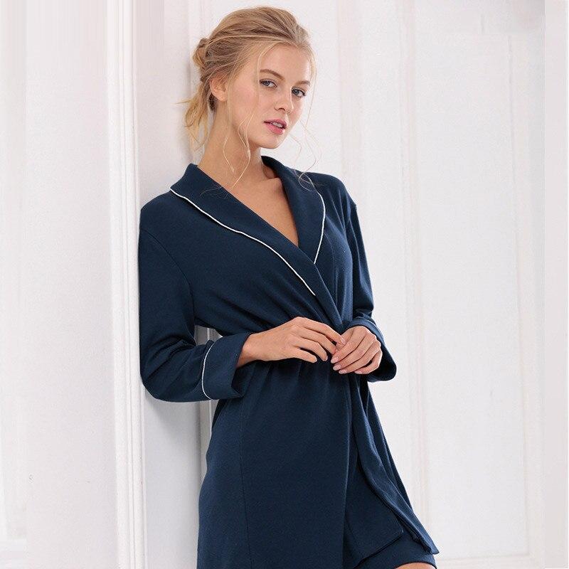 Sleep long sleeve sleepwear robes loose sleepshirts womens robes ...