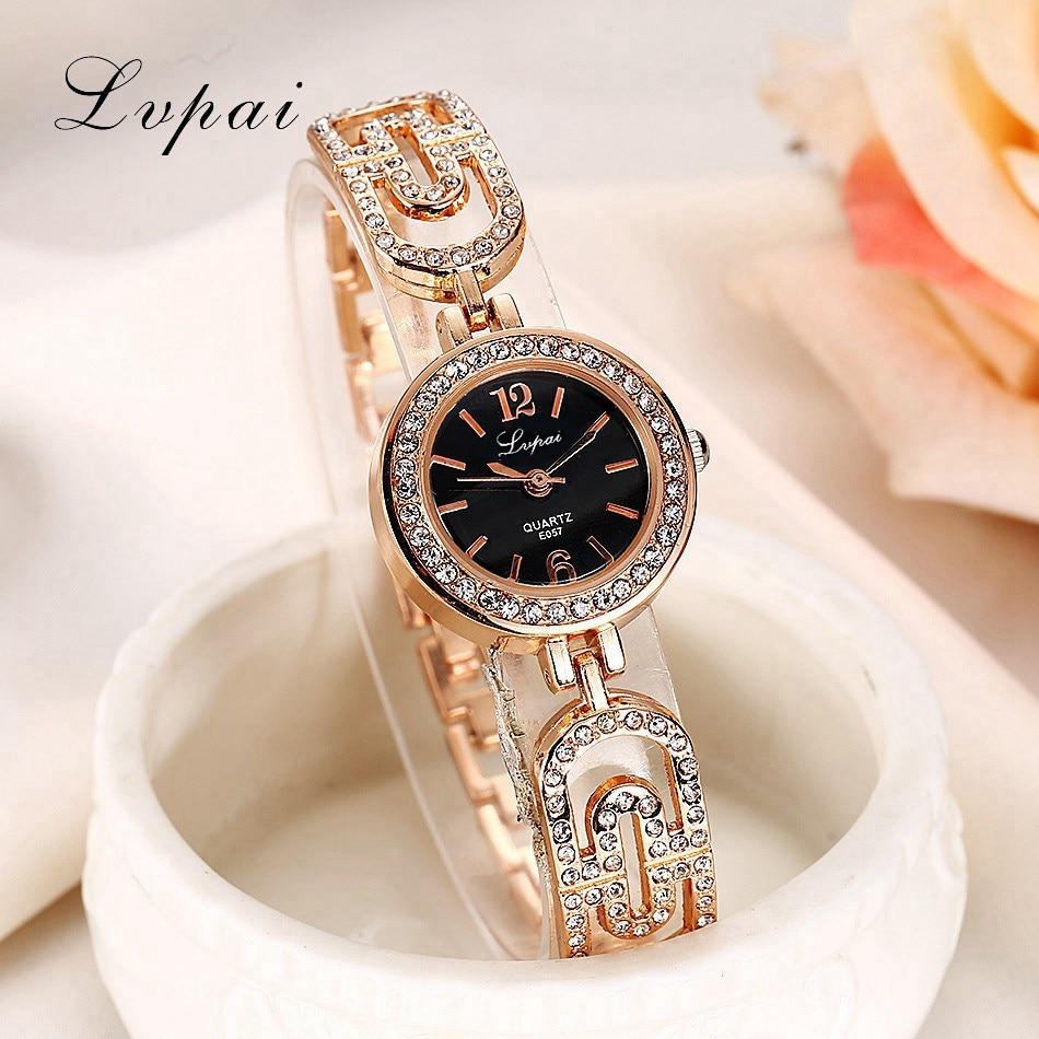 Lvpai Fashion Watches Bracelet Diamond Alloy Wristwatches Women Dress Watches Luxury Gift Women Rose Gold Silver Quartz Watch стоимость