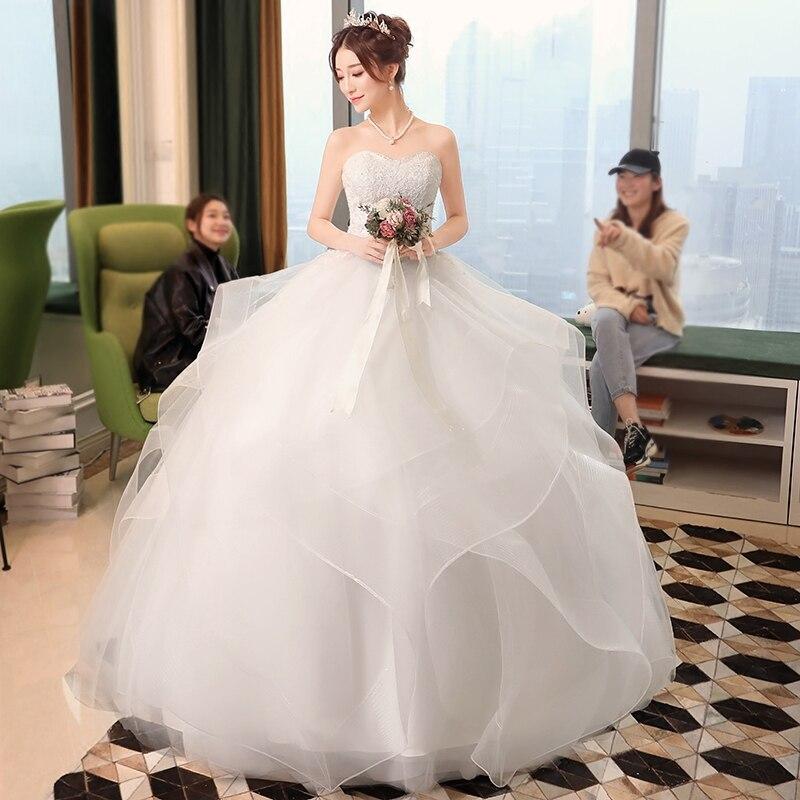 Nieuwe elegante prinses trouwjurken 2018 Sweet baljurk Lace Up Back - Trouwjurken - Foto 4