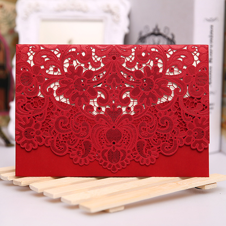 Red White Gold Laser Cut Wedding Invitation Card Luxurious Elegant ...