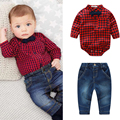2017 Fashion New Baby Boy Spring Gentleman Plaid Clothing sets Suit Newborn boys clothes Bow Tie Shirt+Jeans formal party