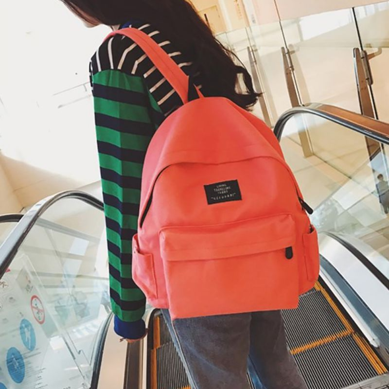 2019 New Korean Style Canvas Casual Solid Color Backpack Fashion Simple Solid Multifunction mochila feminina Backpack Unisex