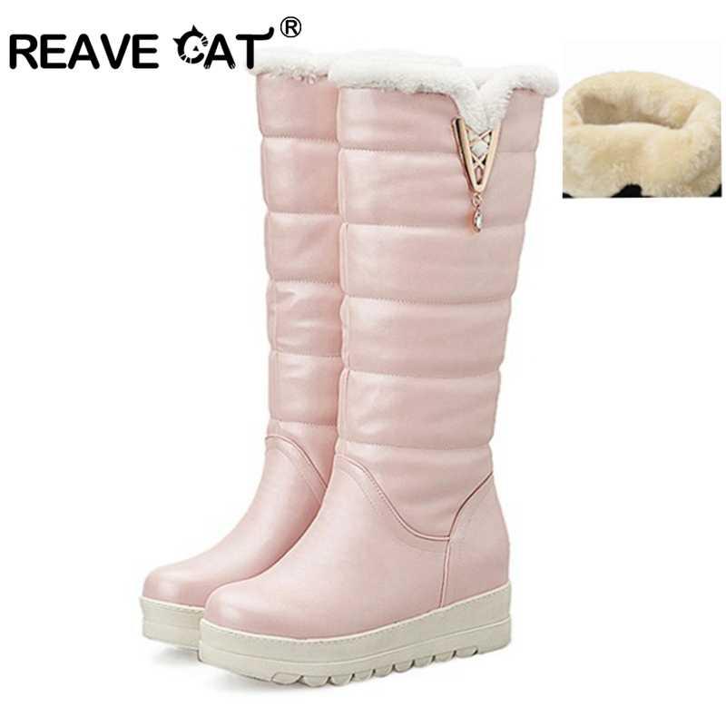 4647a71783da REAVE CAT 2018 Новый Для женщин Зимние ботинки украшения из металла осень  одежда сохраняющая тепло