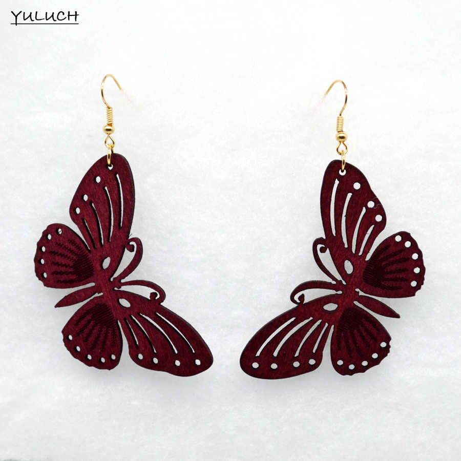 pair New design Big handmade butterfly natural dye color wood earring hollow 2016