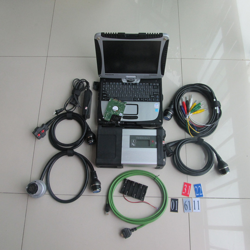 star diagnose mb star c5 with laptop toughbook cf19 newest software in hdd full set ready to work for cars and trucks  цены