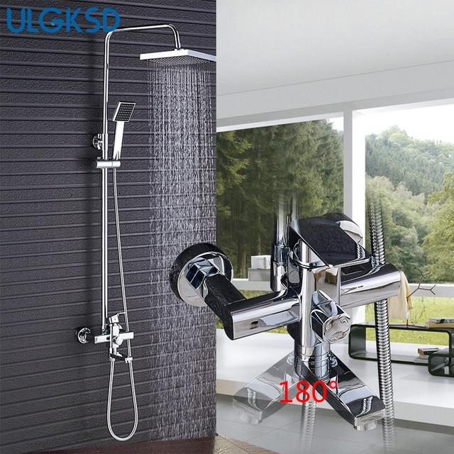 Ulgksd 8'' Square Rainfall Shower Head W/Handheld Shower Faucet Bathtoom Faucet Mixer Taps Tub Filler Spout
