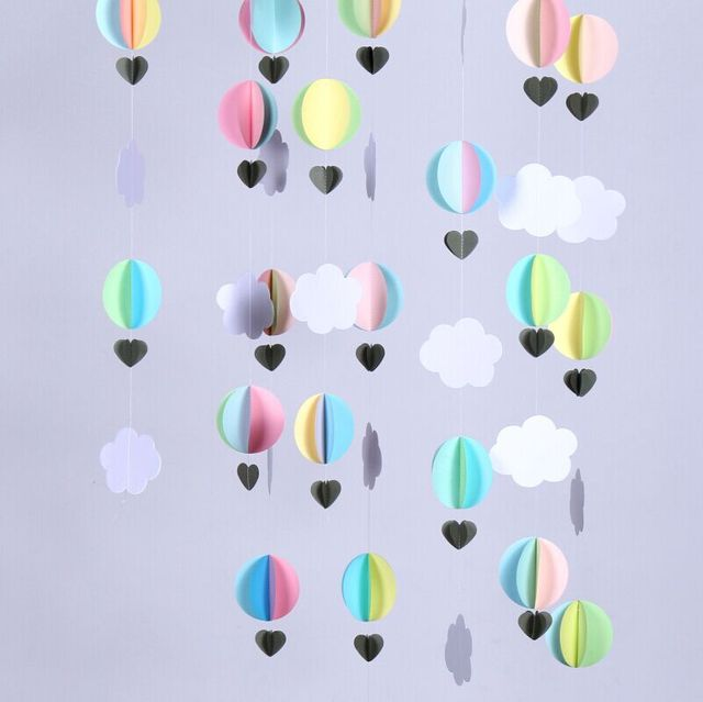4 Strands 3d Hot Air Balloonsbaby Shower Decorcrib Mobile Paper
