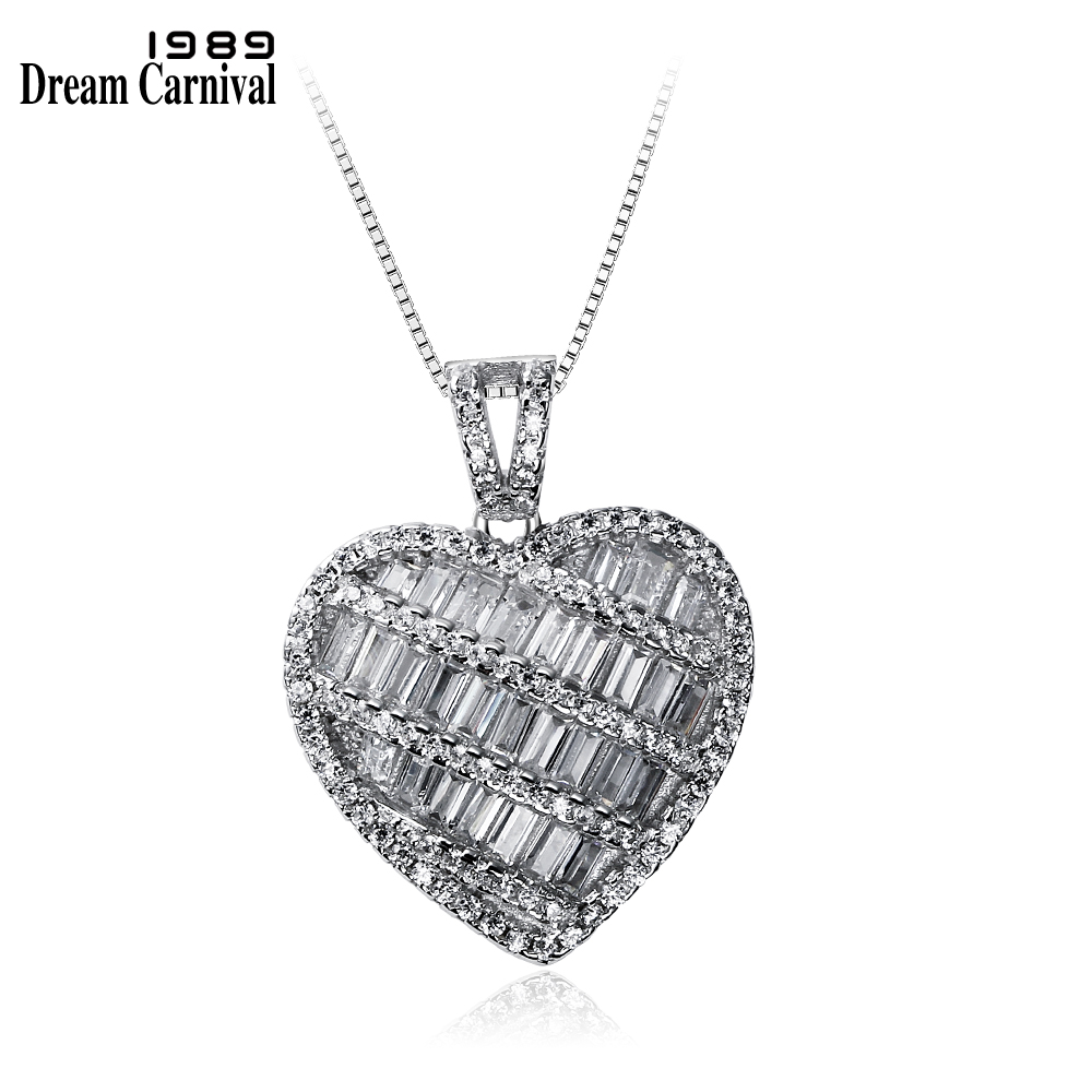 DreamCarnival 1989 Best Lover Gift Anniversary Heart Design 925 Sterling Silver Baguette Zircon Necklaces Pendants SZ12600 a suit of chic heart arrow necklaces for lover