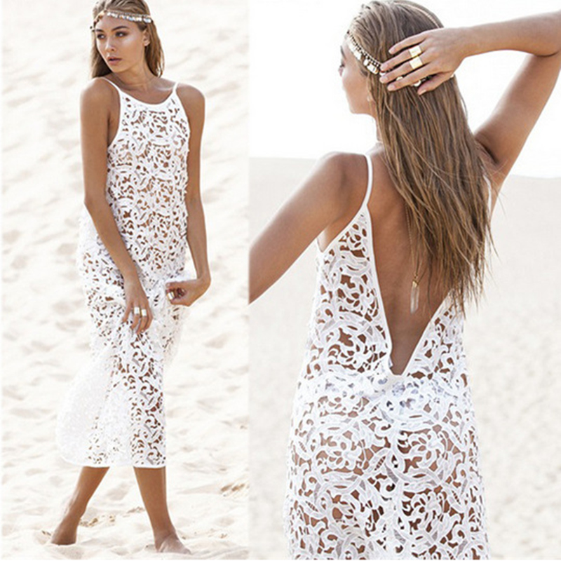 White Lace Bikini Beach Cover Up Long Backless Beach Dress Womens Sexy Hollow Out Pareo Summer Wears Bath Dresses Sarong