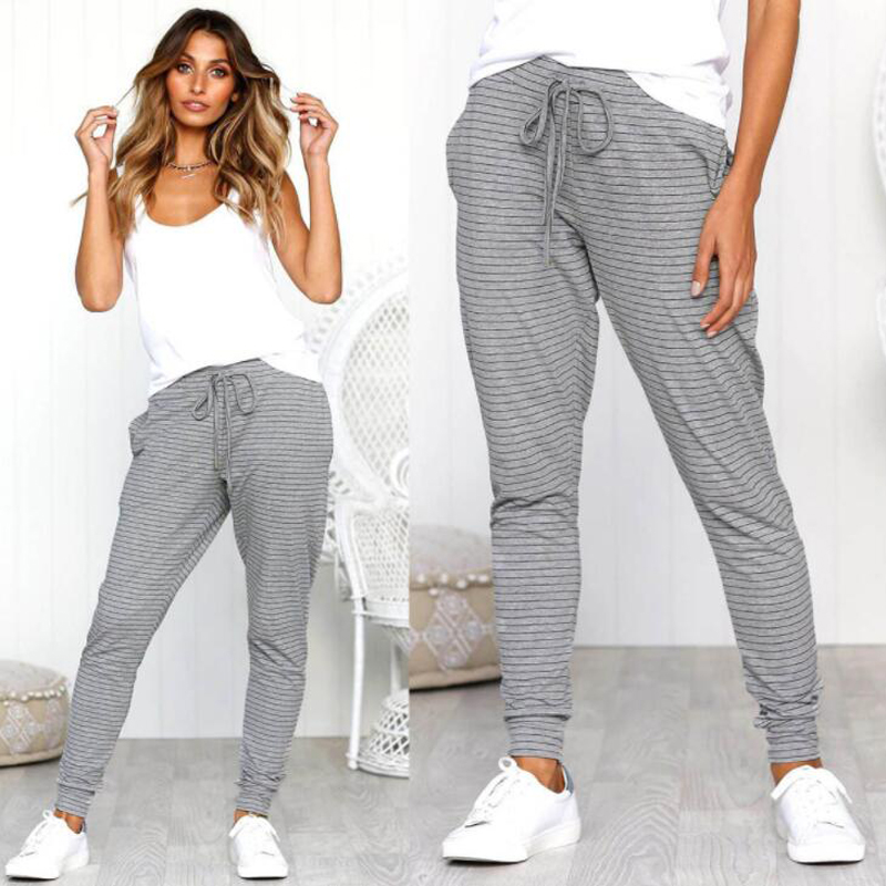 Sexy Comfort Strap Striped Casual Pants Fashion New Style Sports Pants For Women Lace Up High Waist Pants