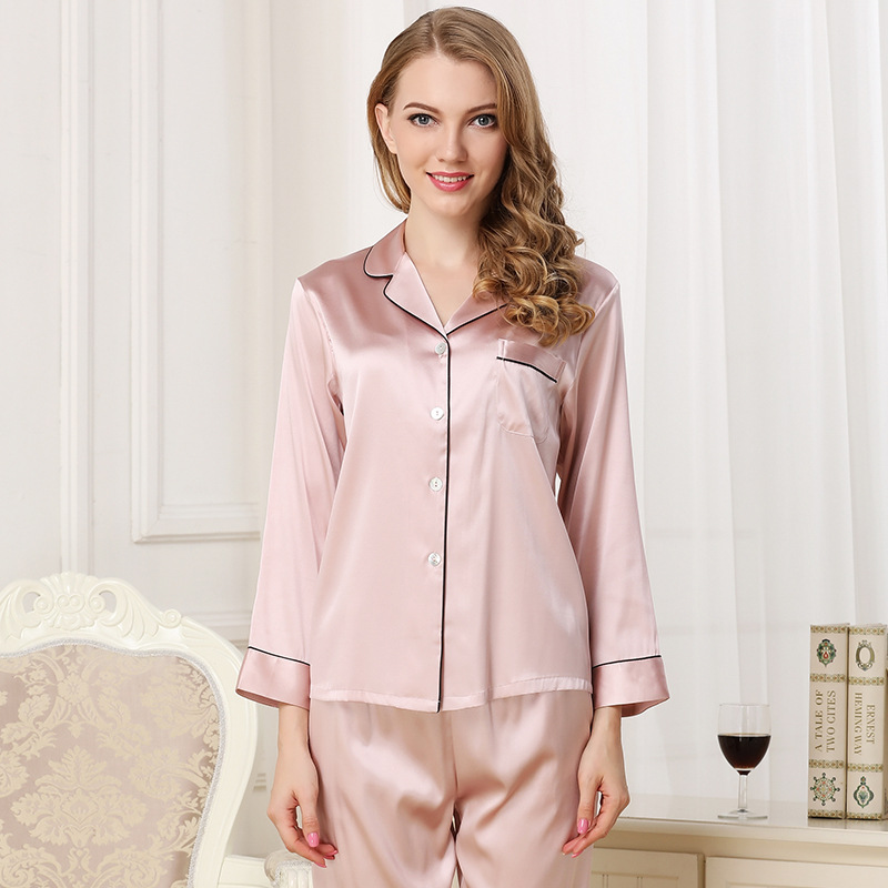 Cearpion Navy Blue Female Silk Pajamas Suit Elegant Bride Wedding Night Wear Casual Daily Home Clothes 2pcs Shirt Pant Sleepwear Pajama Sets Aliexpress