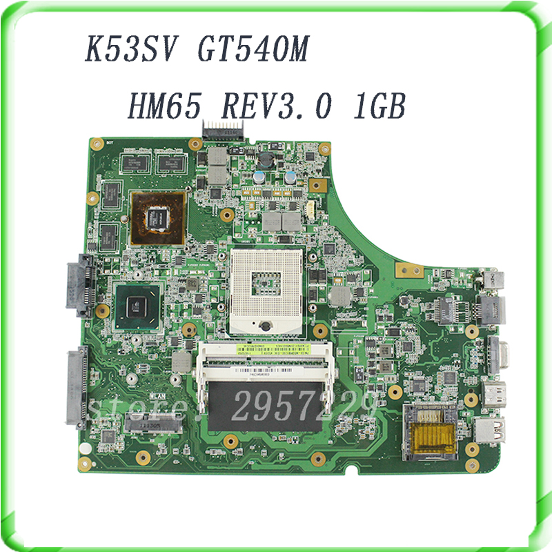 K53SV motherboard for ASUS K53SV k53S X53SV A53S Mainboard N12P-GS-A1 REV 3.0 HM65 1G GT540M mainboard гель лак для ногтей sally hansen miracle gel 754 цвет 754 prince char mint variant hex name 77c9b8