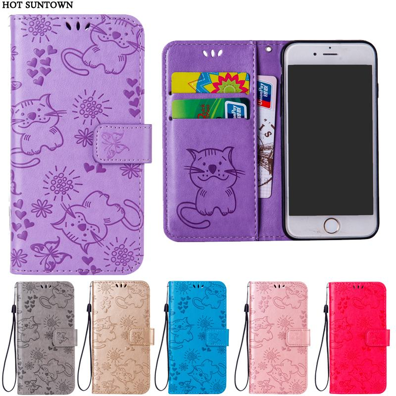 For iphone 7 8 case Luxury Embossed butterfly Cat PU Leather Flip Wallet cover For iphone 8 Plus case Coque iphone X 7Plus case