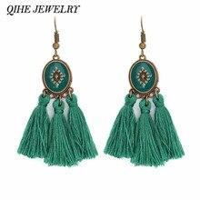e29bf70539a7 QIHE joyería pendiente 7 colores Boho artesanía borlas hilo de seda borlas  flecos fibra encantos pendientes mujeres joyería de m.