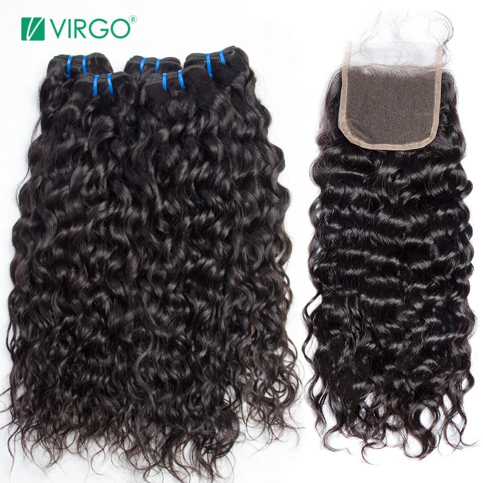 Vague d'eau 3 Faisceaux Avec Fermeture de Cheveux Humains Bundles avec Fermeture Moyen Partie Vierge Malaisienne de Cheveux Humains Non Remy Armure