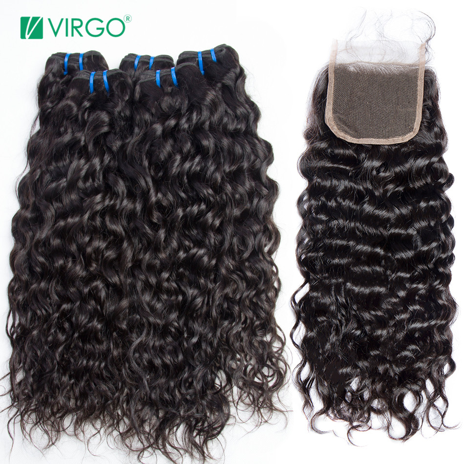Water Wave 3 Bundles With Closure Human Hair Bundles with Closure Middle Part Virgo Malaysian Human Hair Non Remy Weave