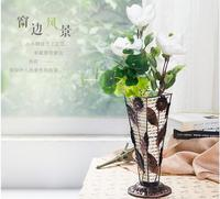 Hand wrought iron art bamboo woven cane weave straw European vintage living room decorative vase