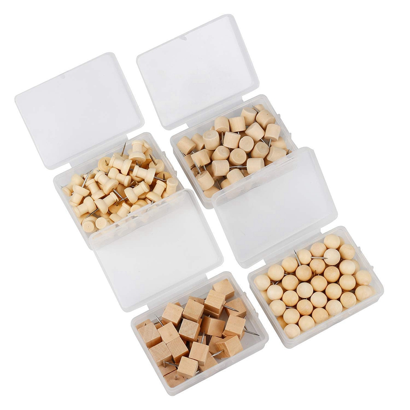 60pcs Round Wooden Decor Thumb Tack Push Pin Home Office Message Board Holder