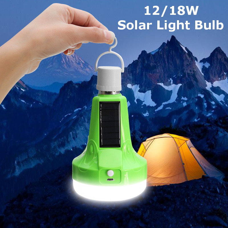 Mising Solar Lights Led Bulb E27 Hanging Led Solar Lamp 12W 18W Rechargeable for Outdoor Hiking Camping Tent Fishing Lighting