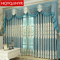 Luxury European Style Villa Embroidered Blackout Curtains For Living Room High End Custom Blue Jacquard Curtains