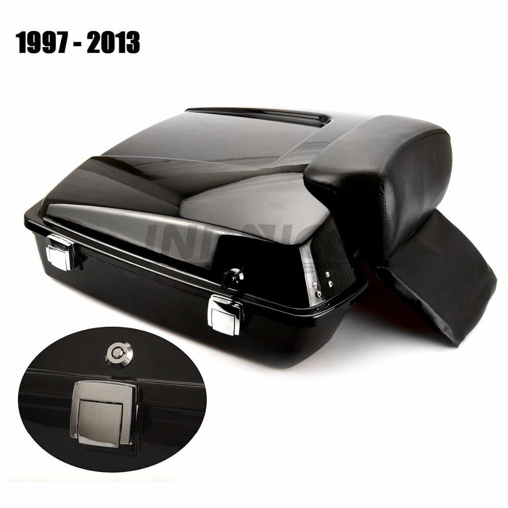 Gloss black FLHR Navalha Pak Tour Pacote Tronco com Encosto Para Harley FLHTC Estrada glide Street Glide 1997-2013