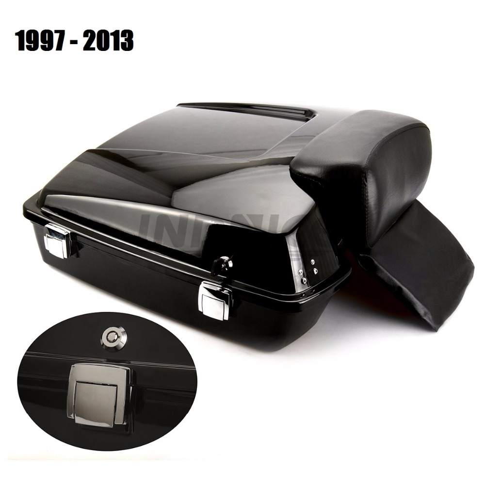 Noir lustré FLHR rasoir Tour Pak Pack FLHTC coffre avec dossier pour Harley Road glide Street Glide 1997-2013