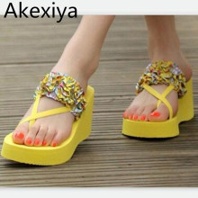 Akexiya Woman Sandals & Flip Flops Fashion Ladies Sandals Comfortable Shoes woman's Floral Vacation Sandal Summer Shoes ALF109