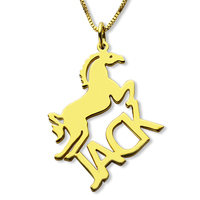 AILIN Gold Color Horse Necklace with Cut Out Name Necklace Personalized Name Jewelry Horse Lover Gift Rock Mans Power