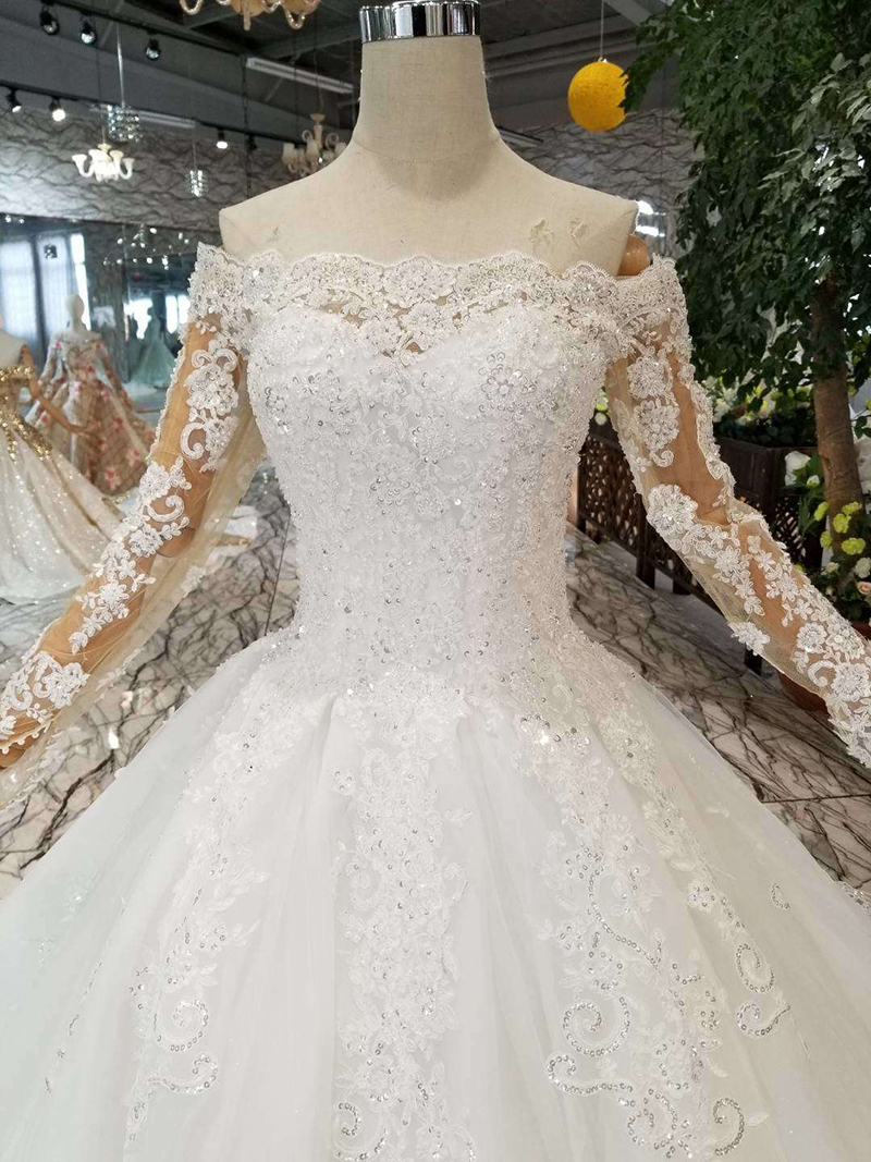 Image 4 - HTL108 bohemian wedding dress like white off the shoulder boat neck long tulle appliques sleeves wedding gown simple beach styleWedding Dresses   -