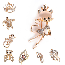 animal Full Rhinestone Brooch wedding Pins Butterfly Bear Tortoise Crown Lizard music notes brooches and pin cat brooch badge