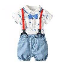 Baby Boy Romper Summer Cotton Jumpsuit Bodie Short Sleeve +Suspenders 2pcs/Set Blue Bowknot Newborn
