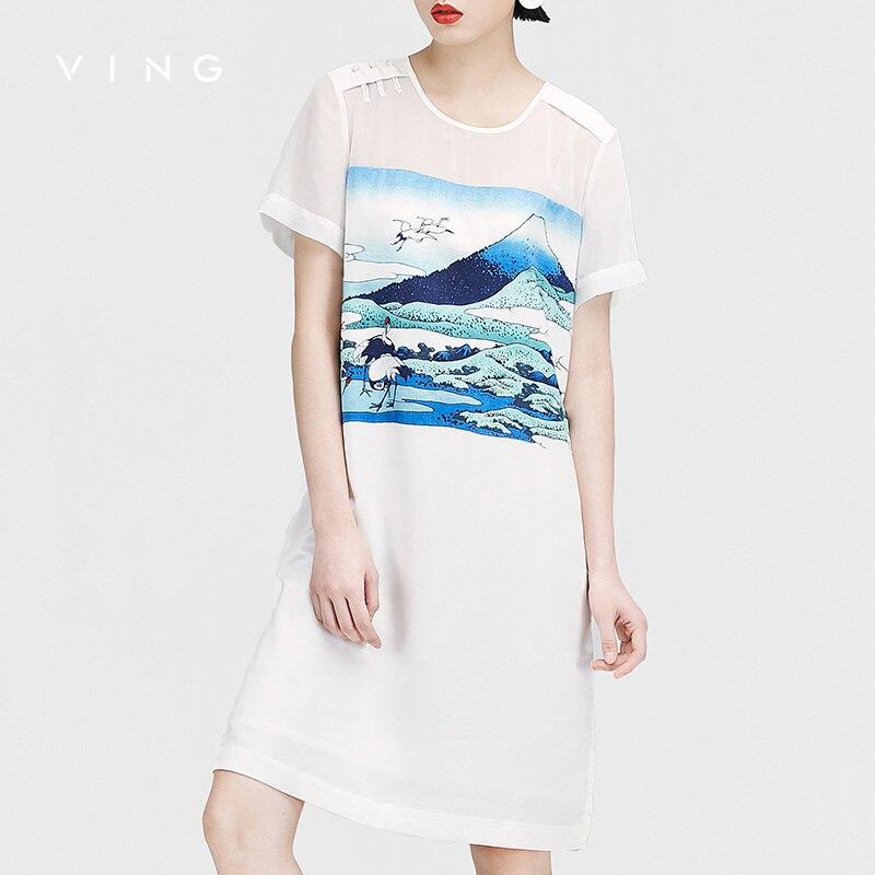 VING OL Style Women Dresses Casual Printed Round Neck Short Sleeve Summer Bodycon Dresses All-match White Midi Robe Femme 2018