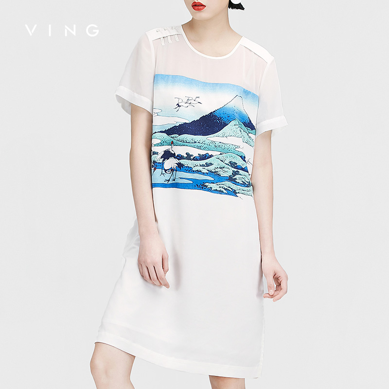 VING OL Style Women Dresses Casual Printed Round Neck Short Sleeve Summer Bodycon Dresses All-match White Midi Robe Femme 2018