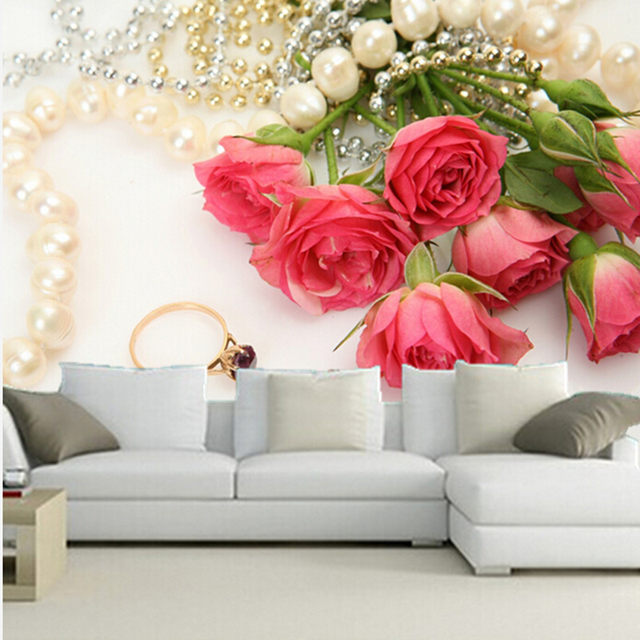 Online shop the custom 3d muralsromantic roses jewelry pink color the custom 3d muralsromantic roses jewelry pink color flowers wallpapers living room sofa tv wall bedroom wall paper mightylinksfo
