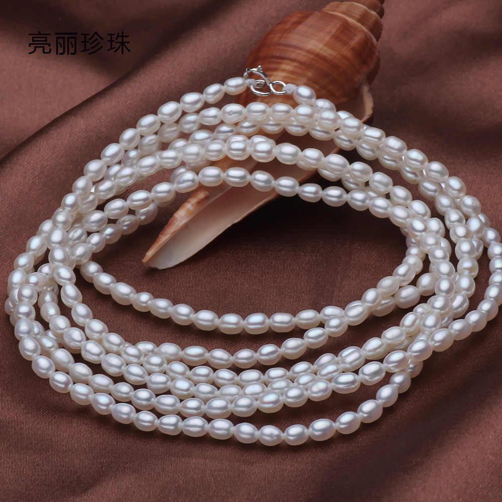 Już 135 CM 925 Sterling silver prawdziwe piękne naturalne 6-7 MM słodkowodne naszyjnik z pereł łańcuszek na kostkę wielu niestandardowe kobiety prezent słowo