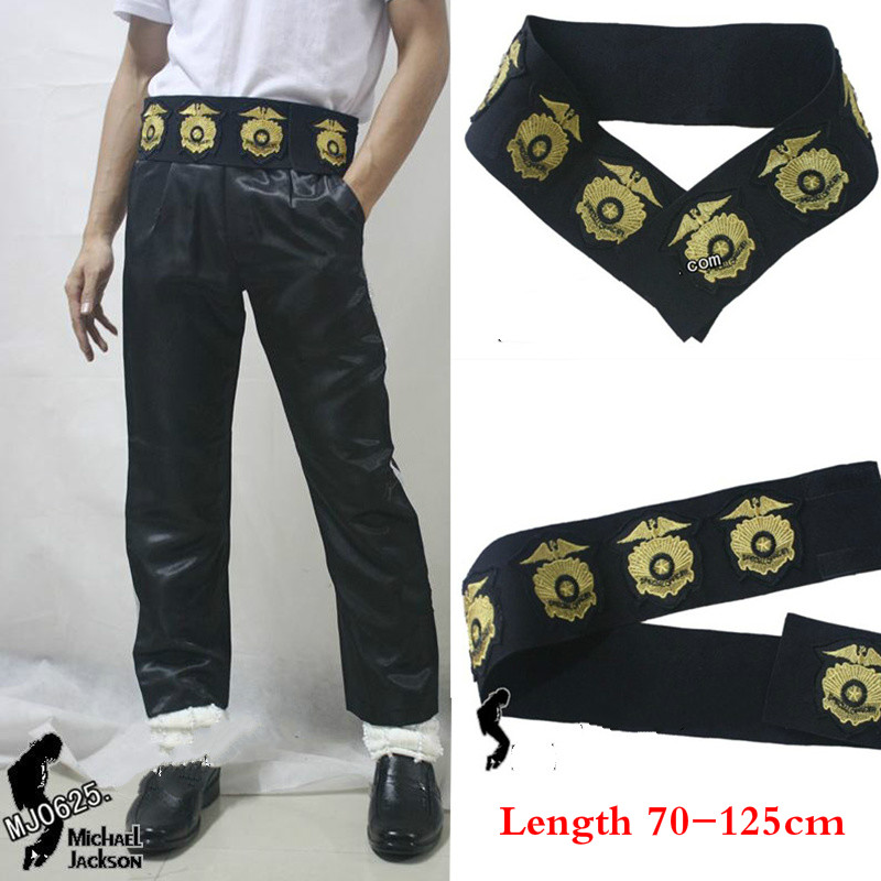 HOT MJ Michael Jackson Classic Leather Belt Military Golden Stitchwork Special Officer Belt punk JAM BAD tour Collection Show