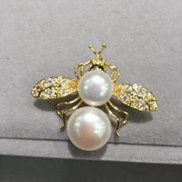 natural fresh water pearl bee brooch pins copper with cubic zircon fashion women jewelry free shipping