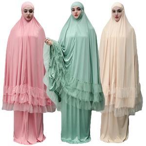 Image 2 - 2 Piece Women Prayer Hijab Dress Dubai Muslim Khimar Jilbab Overhead Abaya Clothing Ramadan Skirt Kaftan Solid Color Set Islamic