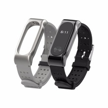 Xiaomi mi Band 2 strap bracelet miband Sport wrist band breathable silicone watchband replacement stainless steel buckle