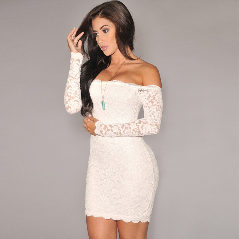 Off White Lace Dress With Sleeves - Dress
