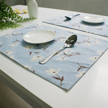 Doreen Box Past Fresh Style Summer Blue Pink Flower Leaf Placemat Bar Mat Plate Table Home Kitchen Hot Pads 32x42cm