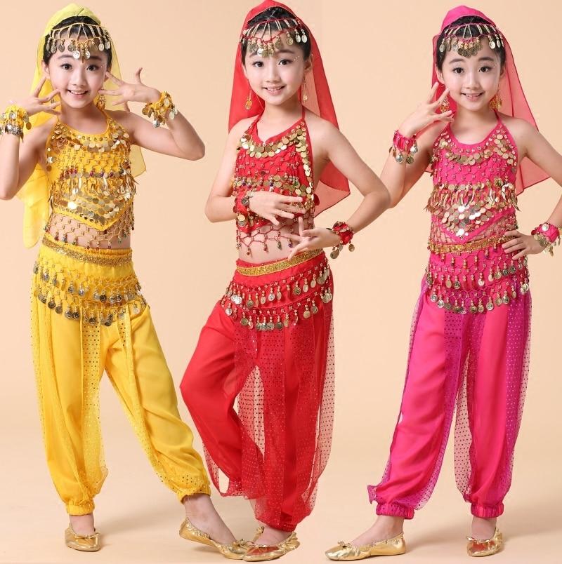 US $16 61 7% OFF|4pcs Sets School Kid Girl Children Child Belly Dance  Costume Performance Indian Bellydance Egypt Belly Dancing Costumes-in Belly