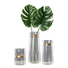 Chinese Creative Retro Glass Bottle Transparent Copper Ring Colored Glass Vase Decoration Wedding Gifts Household Flower Vases(China)